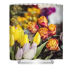 Market Tulips - Paris, France Shower Curtain