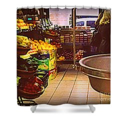 Shower Curtain featuring the photograph Market With Bronze Scale by Miriam Danar