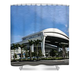 Marlins Park Stadium Miami 16 Shower Curtain by Rene Triay Photography