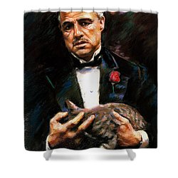 Shower Curtain featuring the drawing Marlon Brando The Godfather by Viola El