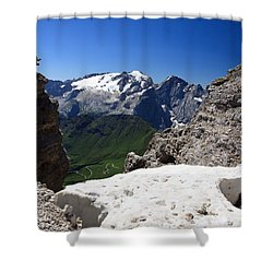 Shower Curtain featuring the photograph Marmolada From Saas Pordoi by Antonio Scarpi