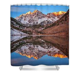 Maroon Bells Alpenglow Shower Curtain