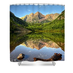 Maroon Bells And Maroon Lake Shower Curtain by Ken Smith