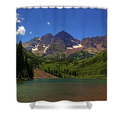 Shower Curtain featuring the photograph Maroon Bells From Maroon Lake by Alan Vance Ley