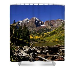 Shower Curtain featuring the photograph Maroon Bells by Jeremy Rhoades