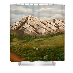 Maroon Trail Splendor Shower Curtain by Sheri Keith
