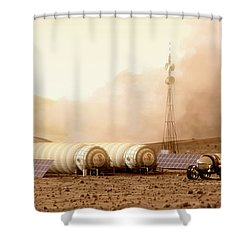 Shower Curtain featuring the digital art Mars Dust Storm by Bryan Versteeg