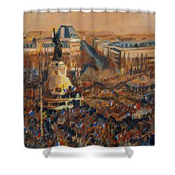 Shower Curtain featuring the painting Mars Je Suis Charlie 11 Janvier 2015 by Nop Briex