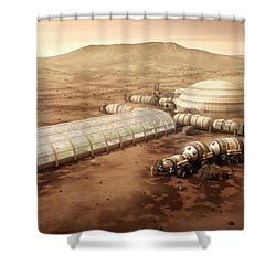 Shower Curtain featuring the mixed media Mars Settlement With Farm by Bryan Versteeg
