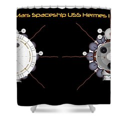Mars Spaceship Hermes1 Front And Rear Shower Curtain