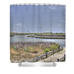 Marsh Shower Curtain by David Troxel
