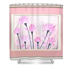 Shower Curtain featuring the painting Marsh Flowers by Ron Davidson