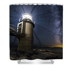 Marshall Lighthouse And The Night Sky Shower Curtain by John Vose