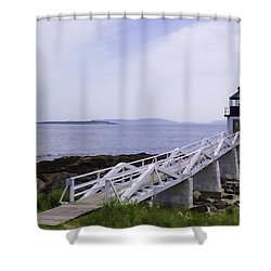 Marshall Point Light 1 Stylized Shower Curtain