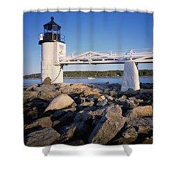 Marshall Point Light-sq Shower Curtain