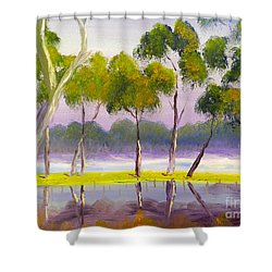 Shower Curtain featuring the painting Marshlands Murray River Red River Gums by Pamela  Meredith