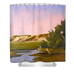 Marshlands Plymouth Landing Shower Curtain by Betty Ann Morris