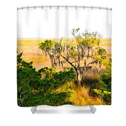 Marsh Cedar Tree And Moss Shower Curtain
