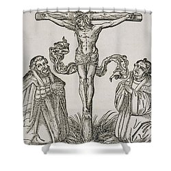 Martin Luther And Frederick IIi Of Saxony Kneeling Before Christ On The Cross Shower Curtain by German School