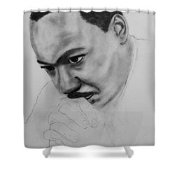 Shower Curtain featuring the drawing Martin Luther King Jr. Mlk Jr. by Michael Cross