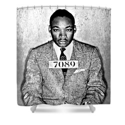Martin Luther King Mugshot Shower Curtain by Bill Cannon
