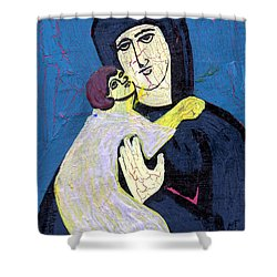 Mary And The Baby Jesus Shower Curtain by Genevieve Esson
