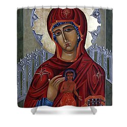 Mary Of The Burning Bush Shower Curtain by Mary jane Miller