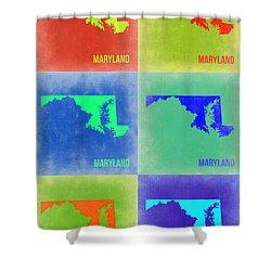 Maryland Pop Art Map 2 Shower Curtain by Naxart Studio
