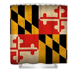 Maryland State Flag Art On Worn Canvas Shower Curtain by Design Turnpike