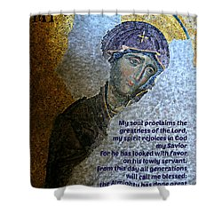 Mary's Magnificat Shower Curtain
