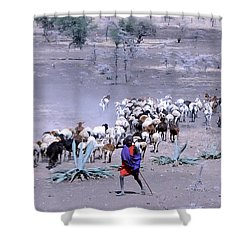 Shower Curtain featuring the photograph Masai Herder Boy by Tom Wurl