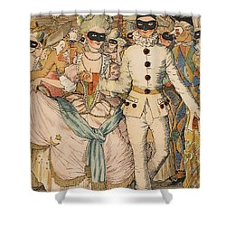 Masked Ball Shower Curtain by Konstantin Andreevic Somov