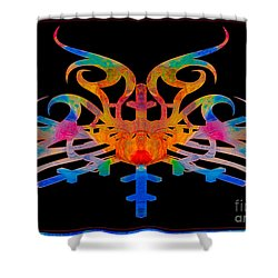 Shower Curtain featuring the digital art Masking Reality Abstract Shapes Artwork by Omaste Witkowski