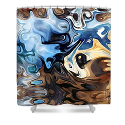 Shower Curtain featuring the digital art Masks by Annie Zeno
