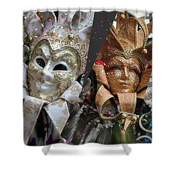 Masquerade Craziness Shower Curtain by Amanda Eberly-Kudamik