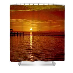 Shower Curtain featuring the photograph Mass Migration Of Birds With Colorful Clouds At Sunrise On Santa Rosa Sound by Jeff at JSJ Photography