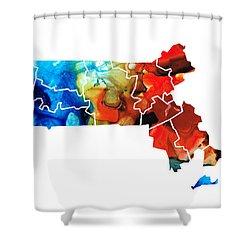 Massachusetts - Map Counties By Sharon Cummings Shower Curtain
