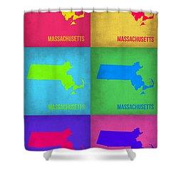 Massachusetts Pop Art Map 1 Shower Curtain by Naxart Studio