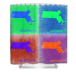 Massachusetts Pop Art Map 2 Shower Curtain by Naxart Studio