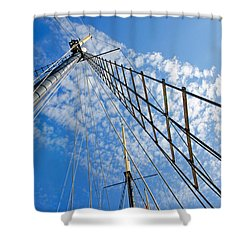 Masted Sky Shower Curtain by Keith Armstrong
