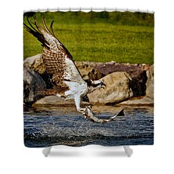 Master Fisherman Shower Curtain by Jack Bell