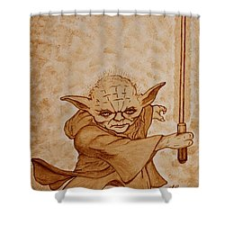 Shower Curtain featuring the painting Master Yoda Jedi Fight Beer Painting by Georgeta  Blanaru