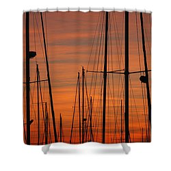 Masts At Sunset Shower Curtain