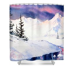 Shower Curtain featuring the painting Matanuska Sunset Impression by Teresa Ascone