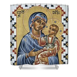 Shower Curtain featuring the painting Mater Domini 070 by William Hart McNichols