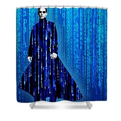 Matrix Neo Keanu Reeves Shower Curtain by Tony Rubino