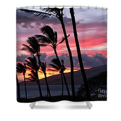 Shower Curtain featuring the photograph Maui Sunset by Peggy Hughes