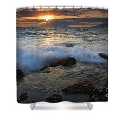 Maui Sunset Spray Shower Curtain by Mike  Dawson