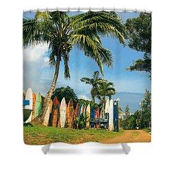 Maui Surfboard Fence - Peahi Shower Curtain by Sharon Mau