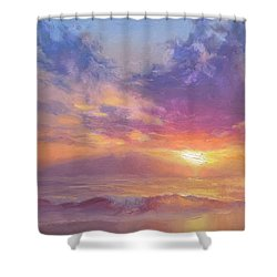 Maui To Molokai Hawaiian Sunset Beach And Ocean Impressionistic Landscape Shower Curtain